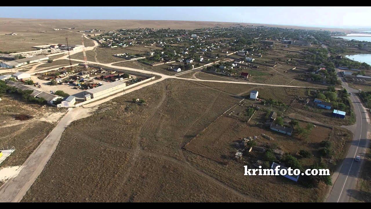 Село Оленевка вид на озеро Лиман Крым с высоты птичьего полета