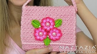 Repeat youtube video DIY Learn How To Crochet Flower Purse Bag Clutch Handbag Wallet (and Line a Purse)