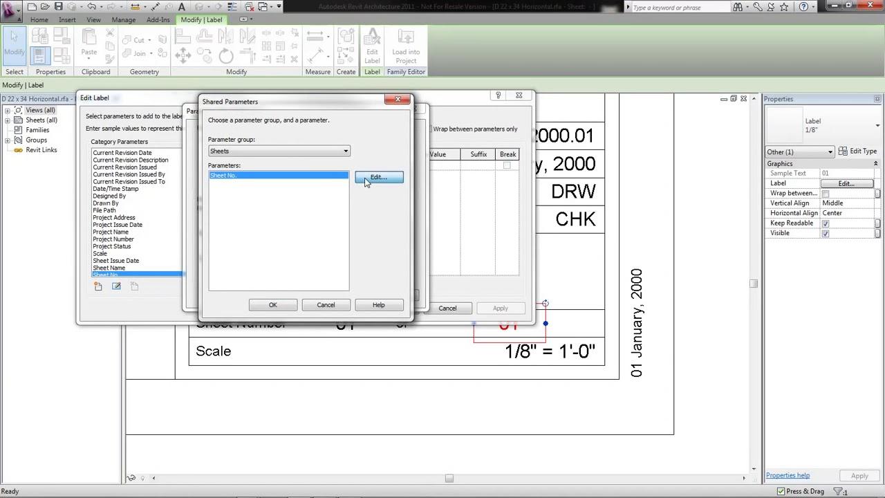 Revit Creating a Title Block Parameter