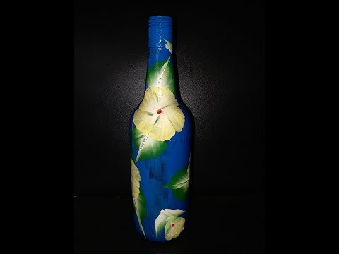 Best Out Of Waste || One Stroke Painting On Reusable Glass Bottle || DIY《#33》
