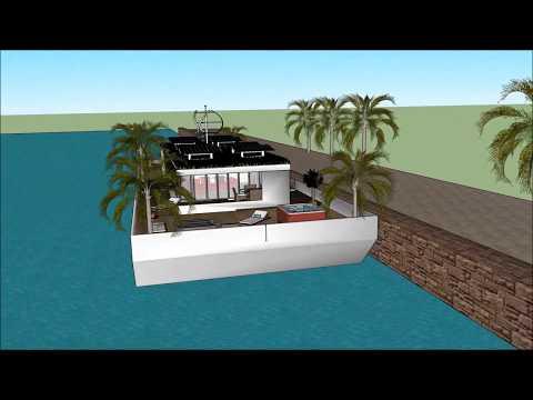 Self sustaining solar powered houseboats in Dubai UAE UNITED ARAB EMIRATES are cheaper than rent flo