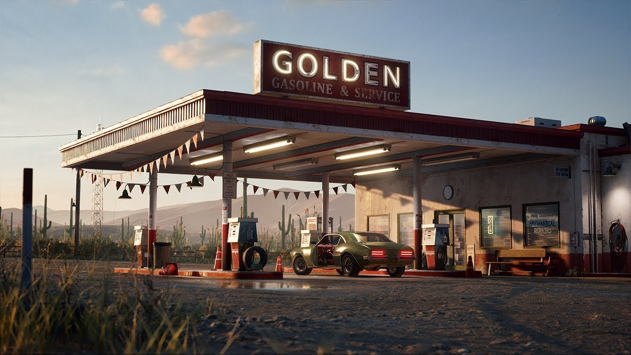 Find A Gas Station >> Golden Gasoline - Desert Gas Station - UE4 - YouTube