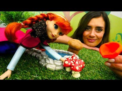 Lustige Schule. Anna sammelt Pilze. Lehrreiches Video.