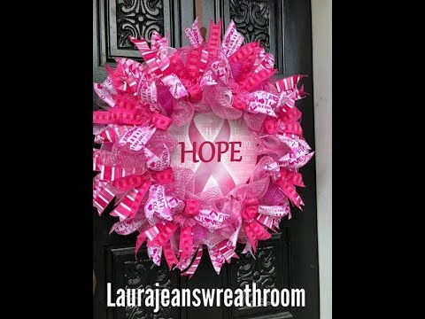 How to make a Cancer Awareness Wreath in poof, ruffles, & rolls