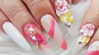 FLORES EN UÑAS 3D PASO A PASO/Cotton Candy Nail Art Design/primera parte🌼