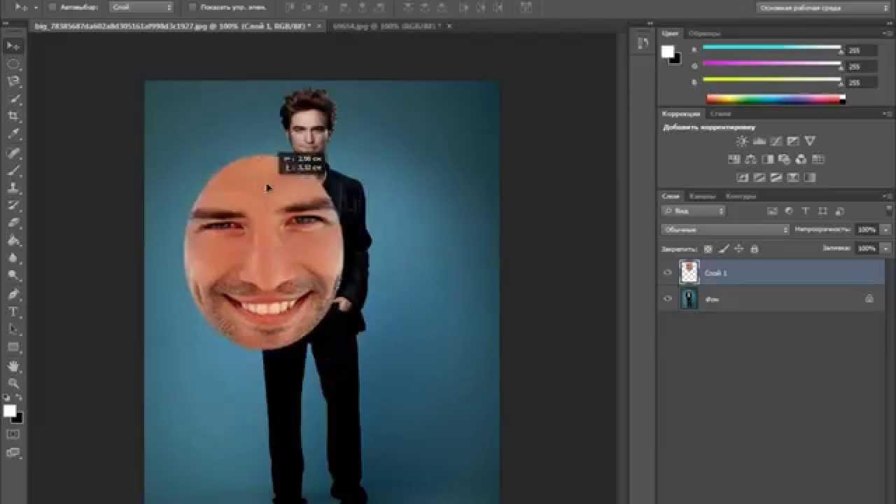 видео вставить лицо в шаблон в фотошопе