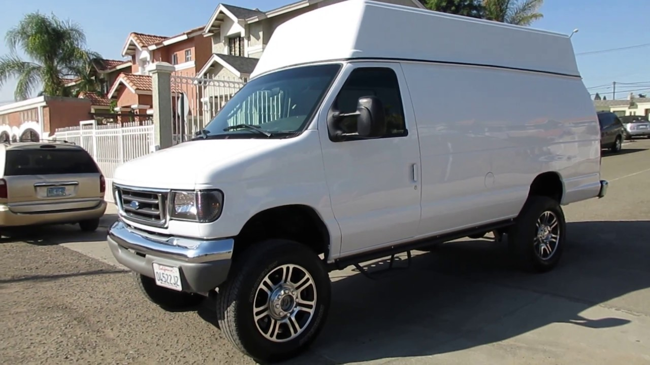 2003 Ford E350 7 3 Sel Cargo Extended High Top Van 4x4