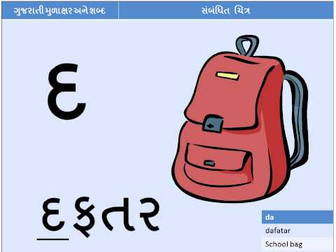 Gujarati Alphabets with words and pictures