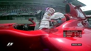 Kimi raikkonen, fernando alonso and lewis hamilton enter the 2007 brazilian grand prix locked in a three-way battle for drivers' championship - which wou...