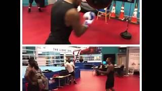 Tyrone Spong doing some work in Anthony Joshua camp