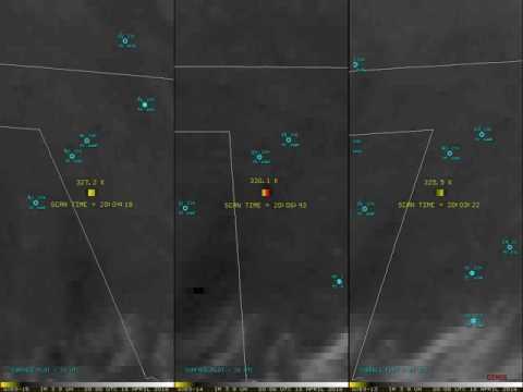 GOES-14 SRSOR Shortwave Infrared Imagery of Grassfire