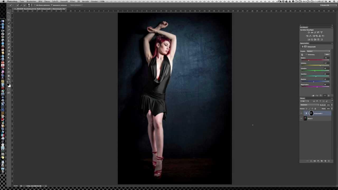 photoshop - farben in schwarz oder weiss umwandeln