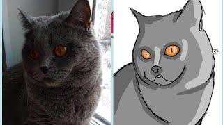 Рисую кошку сестры. Читайте описание.