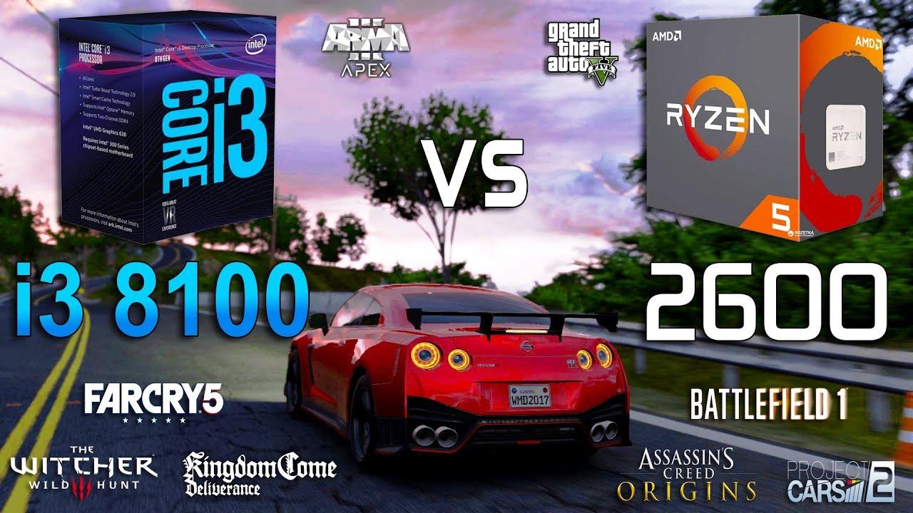 Ryzen 5 2600 vs Core i3 8100 Test in 8 Games