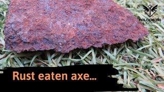 Very rusty fireman's axe restoration.