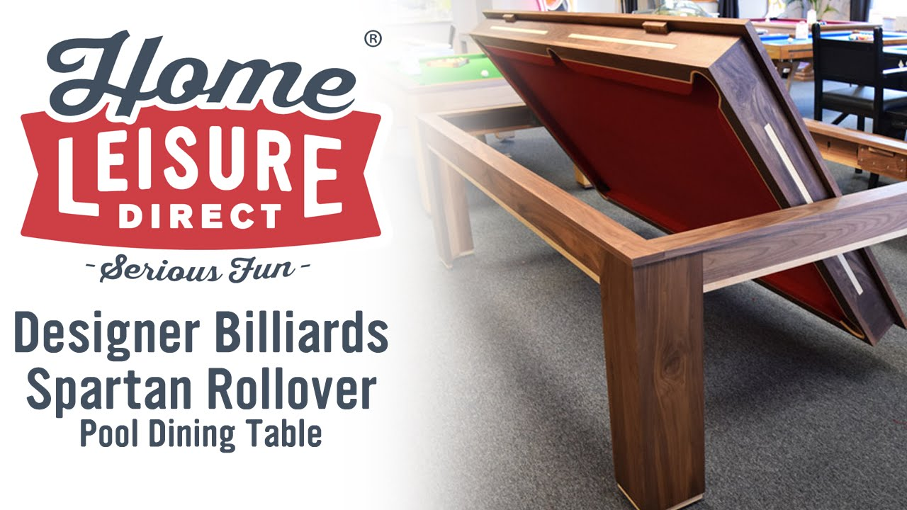 Designer Billiards Spartan Rollover Pool Dining Table - YouTube
