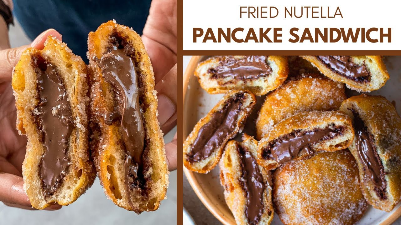 FRIED NUTELLA PANCAKE SANDWICH | tastes like NUTELLA DONUTS | EGGLESS, NO-OVEN NUTELLA RECIPE