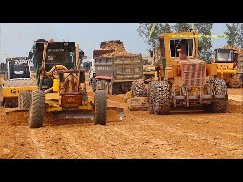 Road Construction Equipment Work - Motor Grader Roller Bulldozer Dump Truck