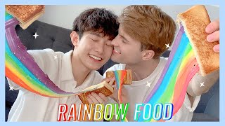 Rainbow Food Challenge 🌈 Pride Giveaway | Danny and Aaron [KOR, ESP SUB]