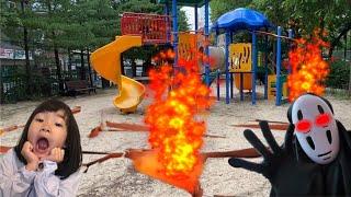 놀이터에서 용암이 나온다. 도망가! 용암탈출~ 가오나시 유령과 용암탈출 용암유령 Escape from lava with ghost kaonasi l Lava Challenge