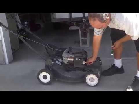 Lawn mower starting with starting fluid