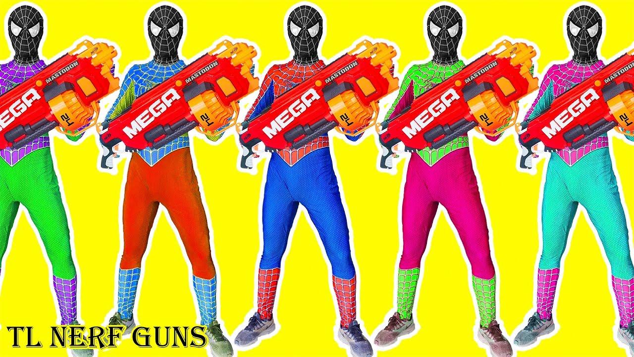 Superhero Nerf War: SWAT  X Warriors Nerf Guns Fight Criminal Group Rescue Hypnotized Spiderman