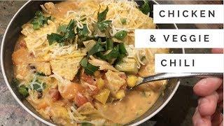 The BEST Crockpot Chicken & Veggie Soup - Chili Hybrid!!