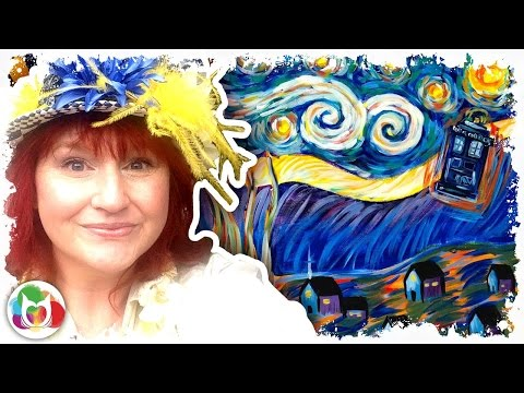 Live How to paint Van Gogh Starry Night with Tardis from Doctor Who art lesson