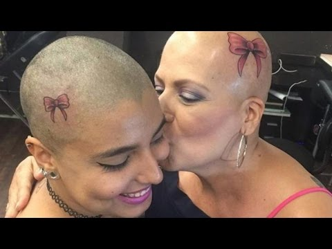 Daughter Shaves Hair To Get Matching Head Tattoo With Mom Fighting Breast Cancer