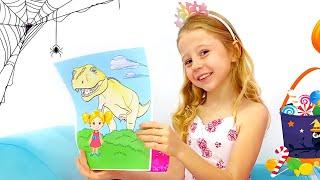 Nastya draws pictures for Halloween