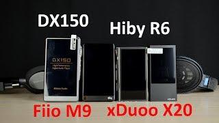 БОЛЬШОЕ сравнение -  Fiio M9, Hiby R6, iBasso DX150 и xDuoo X20.