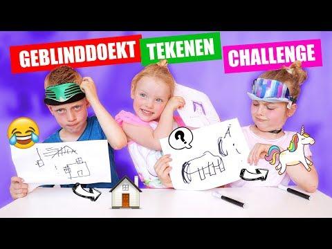 GEBLINDDOEKT TEKENEN CHALLENGE!! [Blindfolded Drawing Challenge] ♥DeZoeteZusjes♥