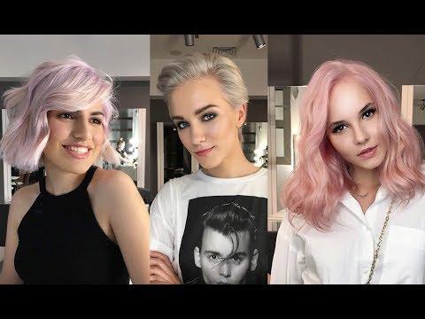 Розовые, серые и лавандовые волосы (пастельное окрашивание для трех подруг)