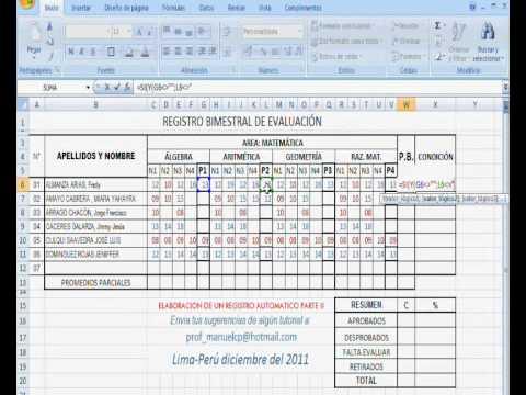 ELABORACION DE UN REGISTRO AUTOMATICO EN EXCEL PARTE 2-FINAL.wmv