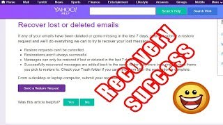 How to recover permanently deleted yahoo mail from trash !