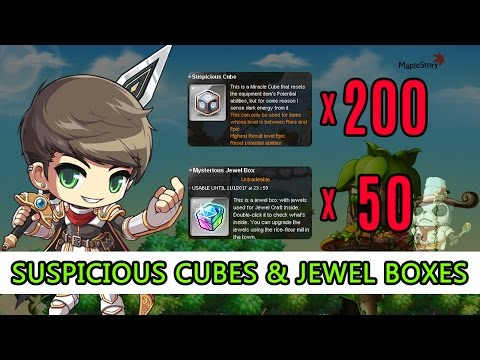 Maple Story SEA - My Dark Knight 200 Suspicious Cubes Experience & 50 Mysterious Jewel Boxes!