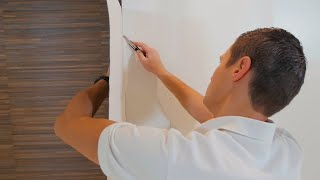 How to hang stiff wallpaper - outer corners