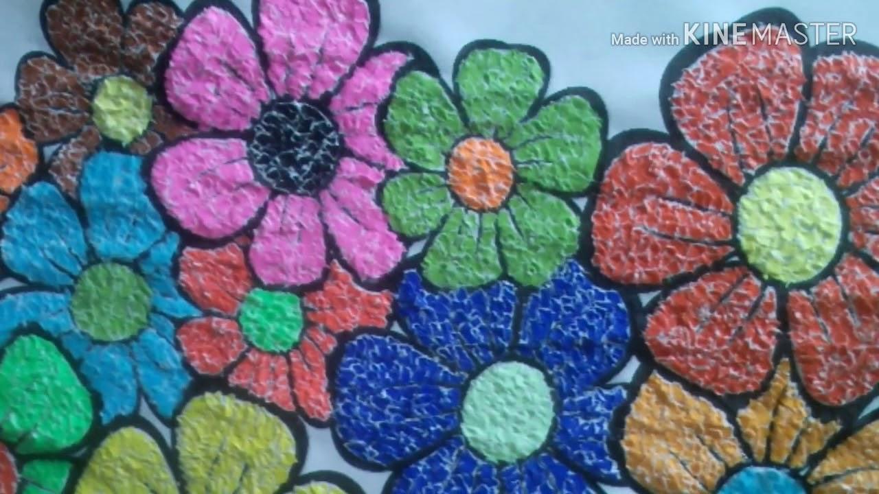 Cara Membuat Kolase Bunga Dari Kertas Warna Youtube