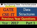 GATE CSE-IT Previous Year Solved Questions Part 1 - Data Structures Question Solutions