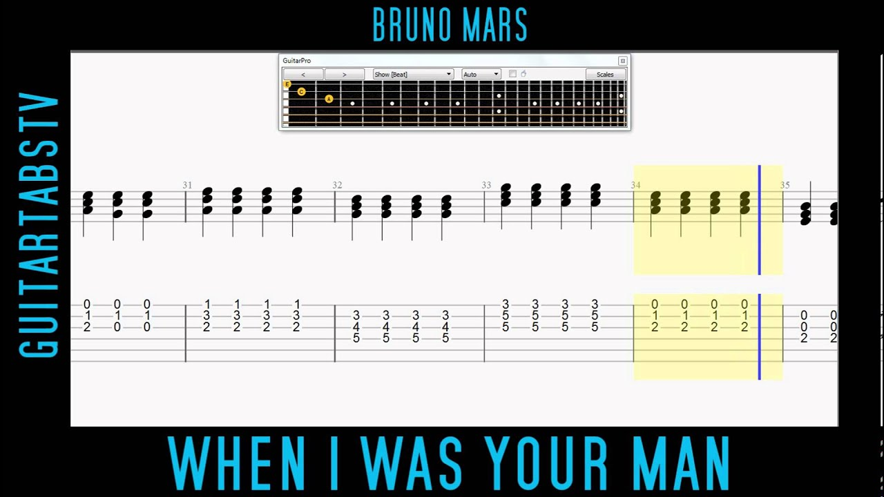 When I Was Your Man Bruno Mars Easy Acoustic Guitar Free Tab Youtube