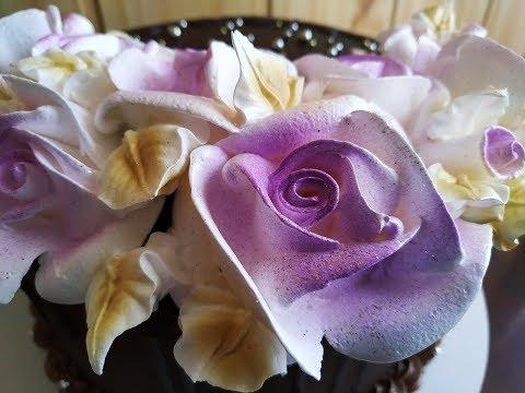 Белково-Заварное украшение торта, как быстро и красиво украсить торт.Цветы из крема. Юлия Клочкова.