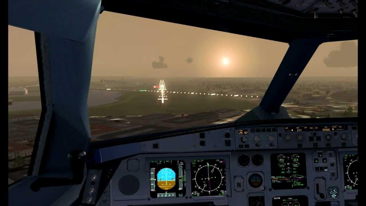 FSX Wilco A330-200 Air France landing at Heathrow airport runway 27R