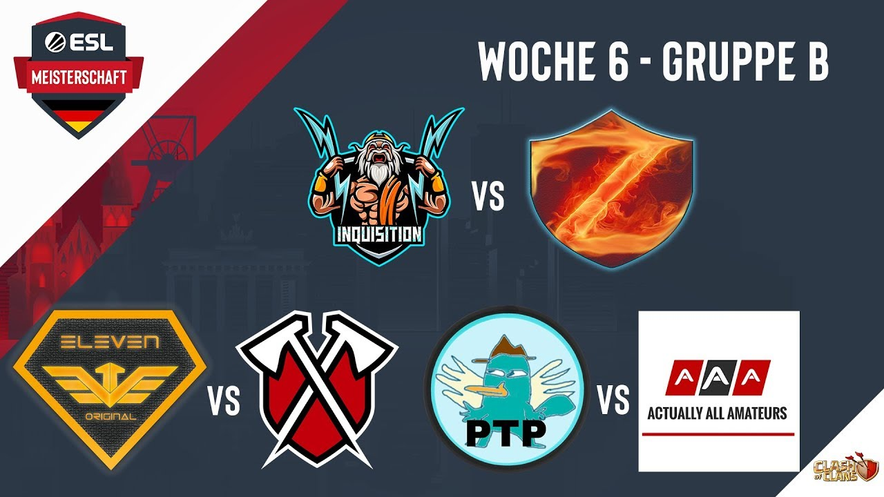 Deutsche Meisterschaft in Clash of Clans | INQ vs ROB + eVe vs Tribe + PTP vs AAA | Woche 6 Gruppe B