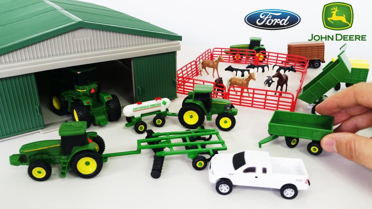 Metal Toy Tractors >> John Deere Toy Playset With Farm Animals Trucks Metal Shed Unboxing So Cool
