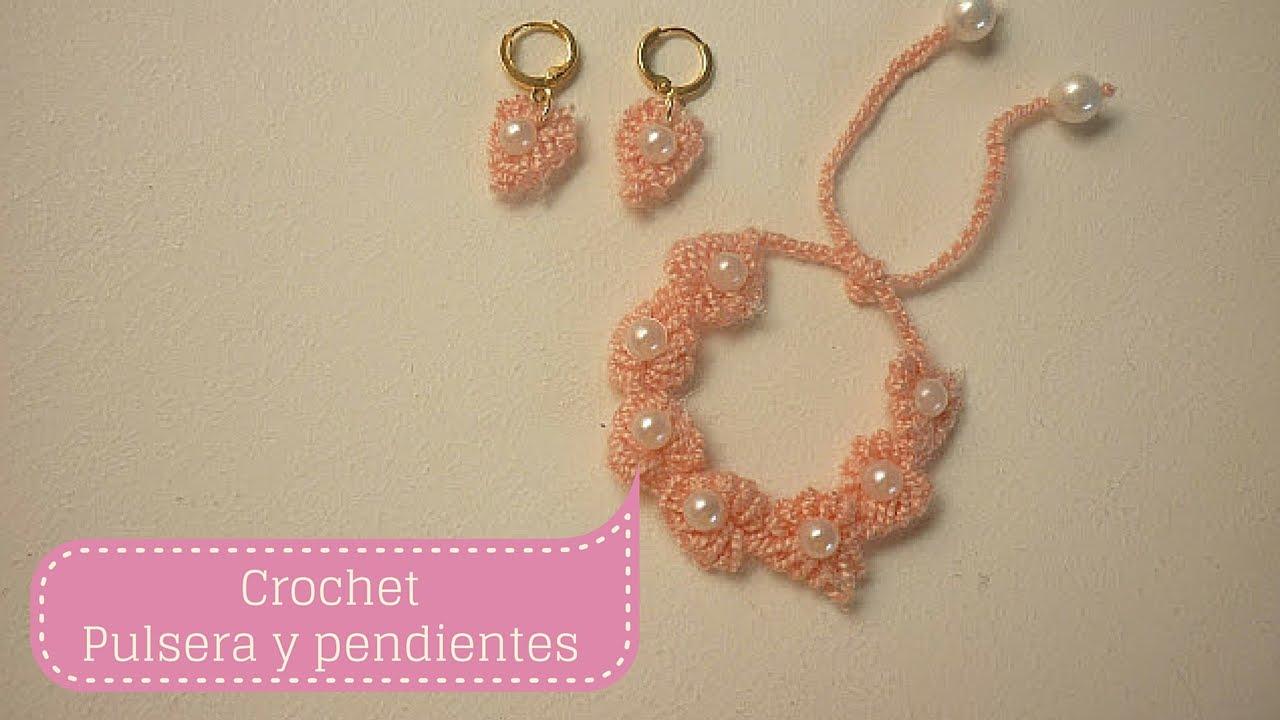 ManualidadesPULSERA y PENDIENTES para niña /Crochet y Bisutería DIY ♥ Sor  Amparo Arredondo R.