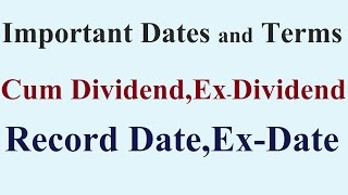 What is Record Date?Ex Date? Cum Dividend and Ex-Dividend?- In Hindi