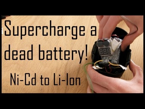 Supercharge a Dead Drill Battery (replace Ni-Cd with Li-ion)