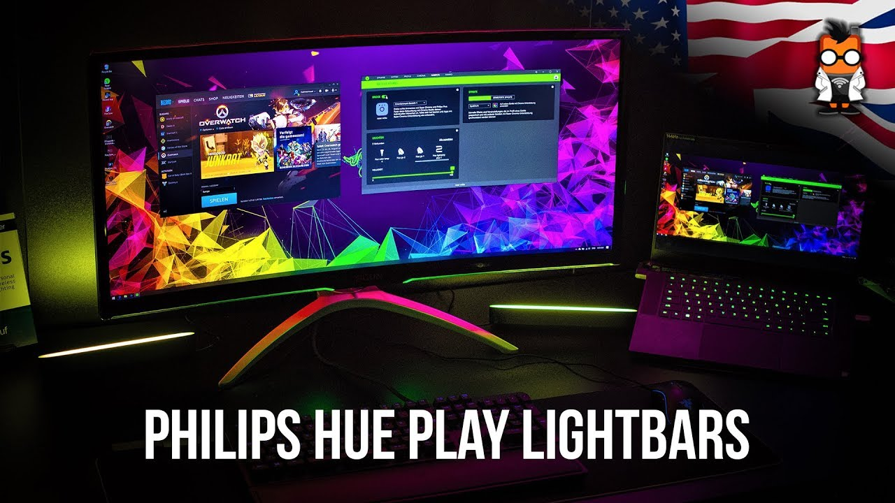 Philips Hue Play Lightbar, Hue Sync and Razer Chroma - Immersive Gaming  with LEDs