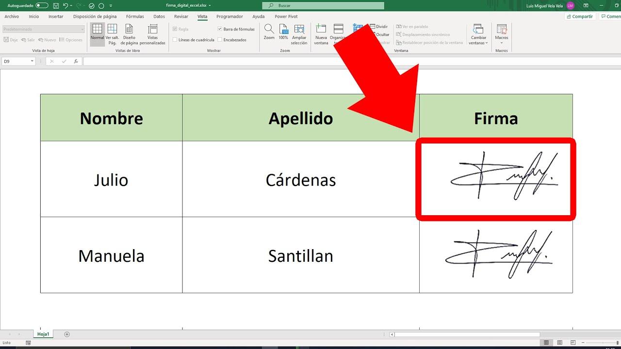 Como Hacer Una Firma Digital En Excel Youtube