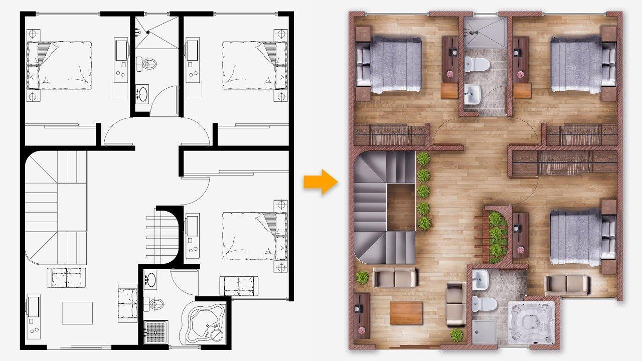 PART 01 Easy Plan  Render Single house  plan  render in